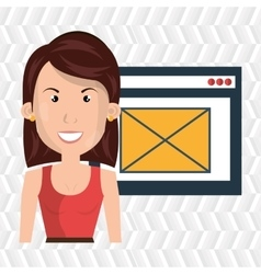 Woman page web email vector