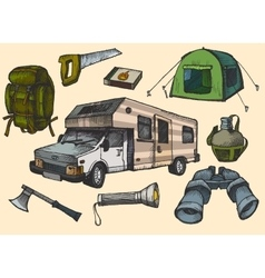 Set of hand drawn camping equipment symbols and vector