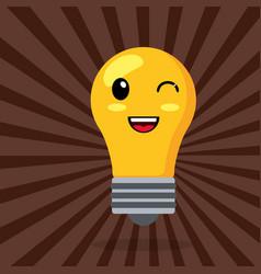 kawaii bulb wink smile vector image