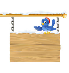 Bluebird christmas sign vector