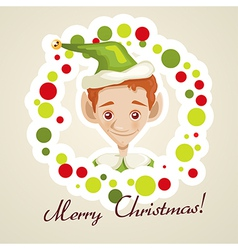 Cute elf christmas card vector