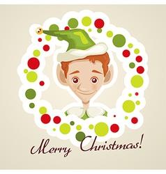 Cute elf christmas card vector