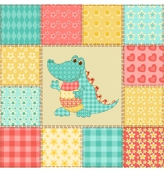 Crocodile patchwork pattern vector