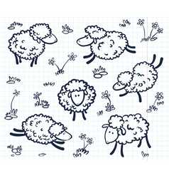 doodle with sheeps vector image