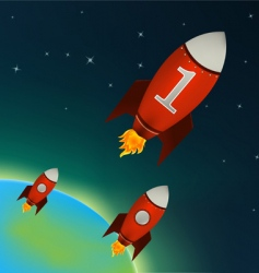 rockets flying in outer space vector image