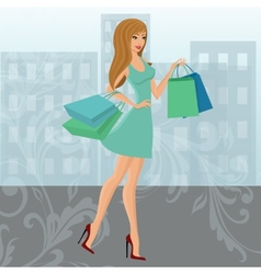 Shopping girl urban vector