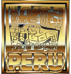 Ancient peruvian gold ornament vector