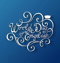 World day of english inscription vector