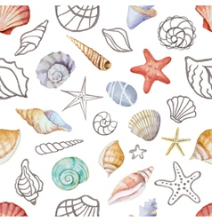 Watercolor seamless pattern with sea shells vector