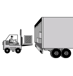 Delivery and loading of cargo by car and loader at vector image