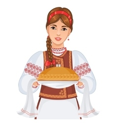 Woman in ukrainian clothes with round loaf vector