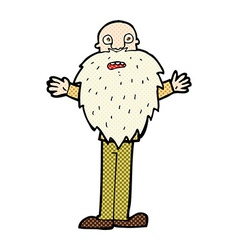 Comic cartoon bearded old man vector