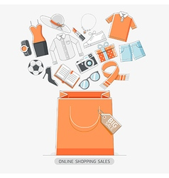 Online shopping stores conceptual line icons style vector