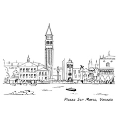 Piazza san marco with campanile and doge palace vector