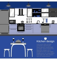 Modern kitchen interior flat design with home vector