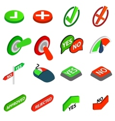 Yes or no icons set isometric 3d style vector