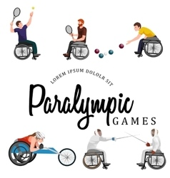 Disable handicap sport paralympic games stick vector