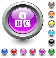 Abc cubes round button vector