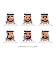 arab man character set of emotions vector image vector image