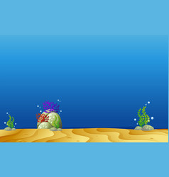 background template with underwater scene vector image