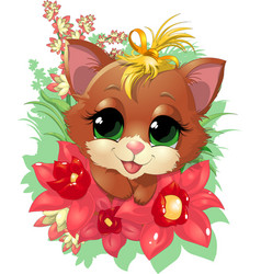 beautiful cute kitten vector image vector image