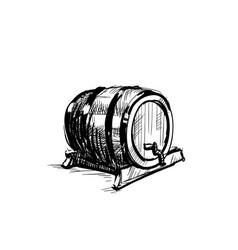 Beer barrel wooden icon sketch oktoberfest vector