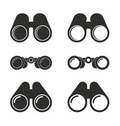Binocular icons set vector