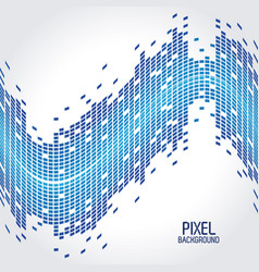 blue pixel background with design of wave vector image