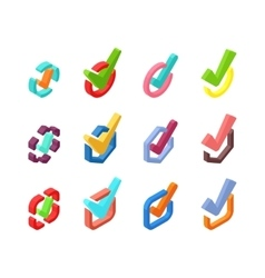 Check vote icons set vector image vector image