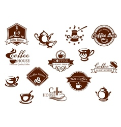 Coffee icons banners and logos in brown vector image