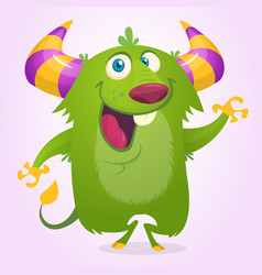 Cute cartoon horned and fluffy monster smiling vector