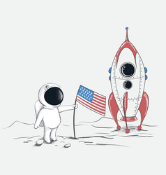 Cute spaceman on moon vector