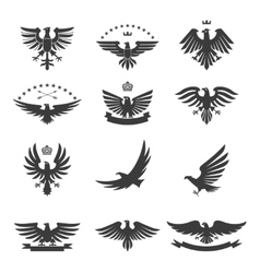 Eagles Set Black vector image