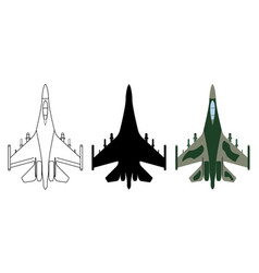 fighter aircraft silhouette cartoon outline vector image