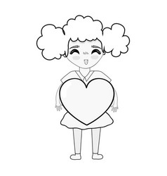 figure pretty girl with heart in the hand and vector image vector image