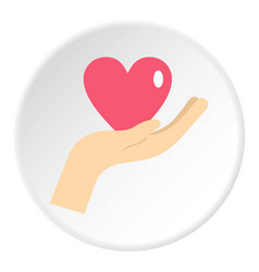 Hand holding a pink heart icon circle vector