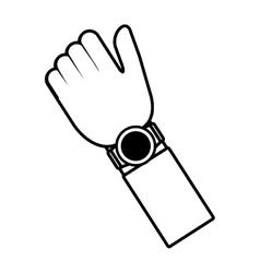Hand smart watch wearable outline vector