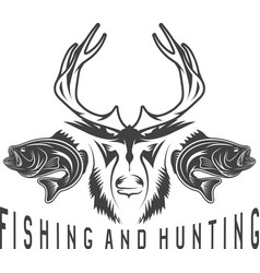 hunting and fishing vintage emblem design template vector image