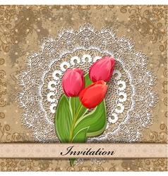 invitation tulip vector image vector image