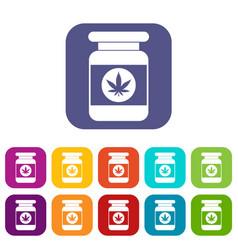 Jar of powder marijuana icons set vector