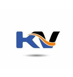 Kv company linked letter logo vector