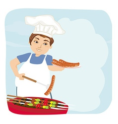 Man baked sausage on grill vector