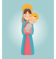 Mary and baby jesus cartoon design vector image vector image