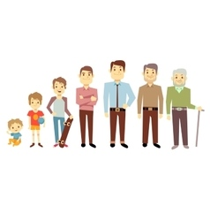 Men generation at different ages from infant baby vector image
