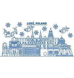 Poland lodz winter city skyline merry christmas vector