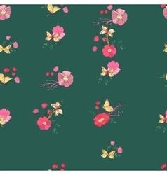 Seamless vintage wildflowers pattern vector