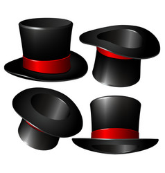 set of black magician cylinder hats vector image