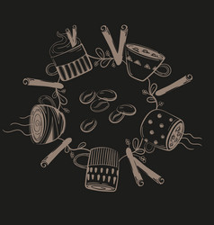 set of different coffee cups in circle vector image