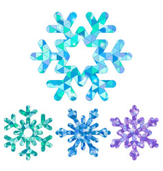 set of snowflakes with triangle mosaic patterns vector image vector image