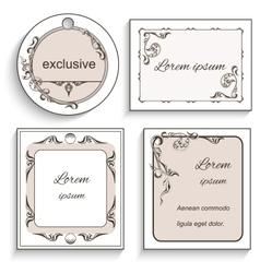 Set of vintage ornament frame labels vector image vector image